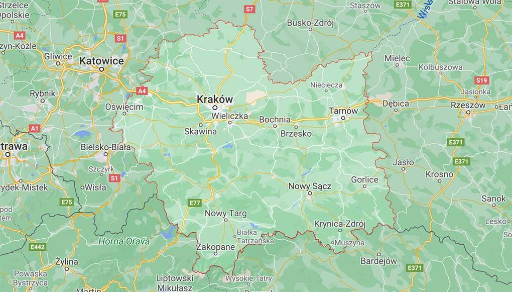 Mapa województwa Małopolskiego