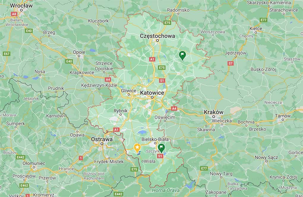 województwo śląskie mapa